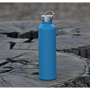 MIRA 34 Oz Stainless Steel Vacuum Insulated Water Bottle | Thermos Keeps Drink Cold for 24 hours & Hot for 12 hours, Doesn't Sweat | Large Powder Coated Sports Flask 2 Lids | Hawaiian Blue