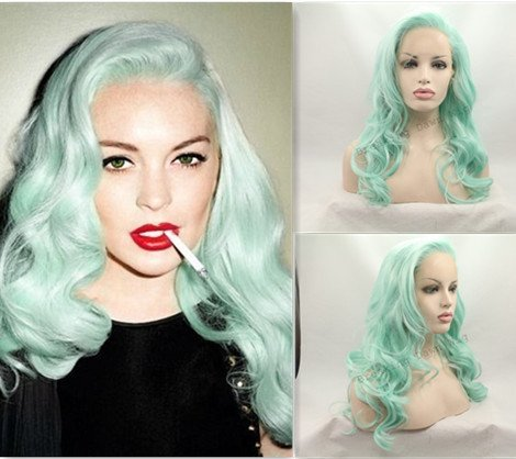 [Heat Resistant Fiber Hair mermaid green blue color mix color Synthetic lace front wig for women hair replacement wig half hand tied] (Blue Wigs For Women)
