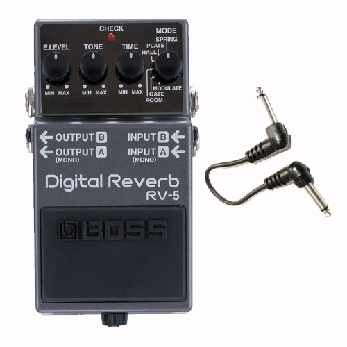 Boss RV5 Digital Reverb Pedal and Sonic Sense 6 In Patch Cable