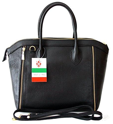 be0978549a992 Sa-Lucca echt Leder Handtasche Damentasche Shopper Ledertasche schwarz Made  in Italy