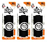 Chums The Band 20mm Wide Watchband (1.5 inch), Black (3 Pack)