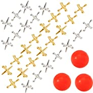Biubee 3 Sets Retro Metal Jacks and Ball Game- 30 Pcs Gold and Silver Toned Jacks with 3 Red Rubber Bouncy Bal