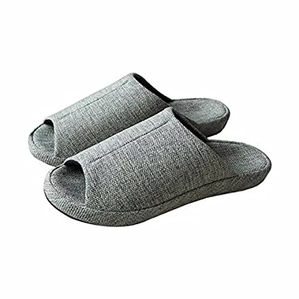 Q-Plus Men's and Women's Arch Support Linen House Slippers Cushioning and Czoy Shoe