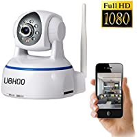 Wireless Camera, UOKOO 1280x1080p Wireless Wifi Camera with 2-Way Audio Remote Wireless for Baby Monitor, Nanny Cam, Wireless IP Camera (White-1080)