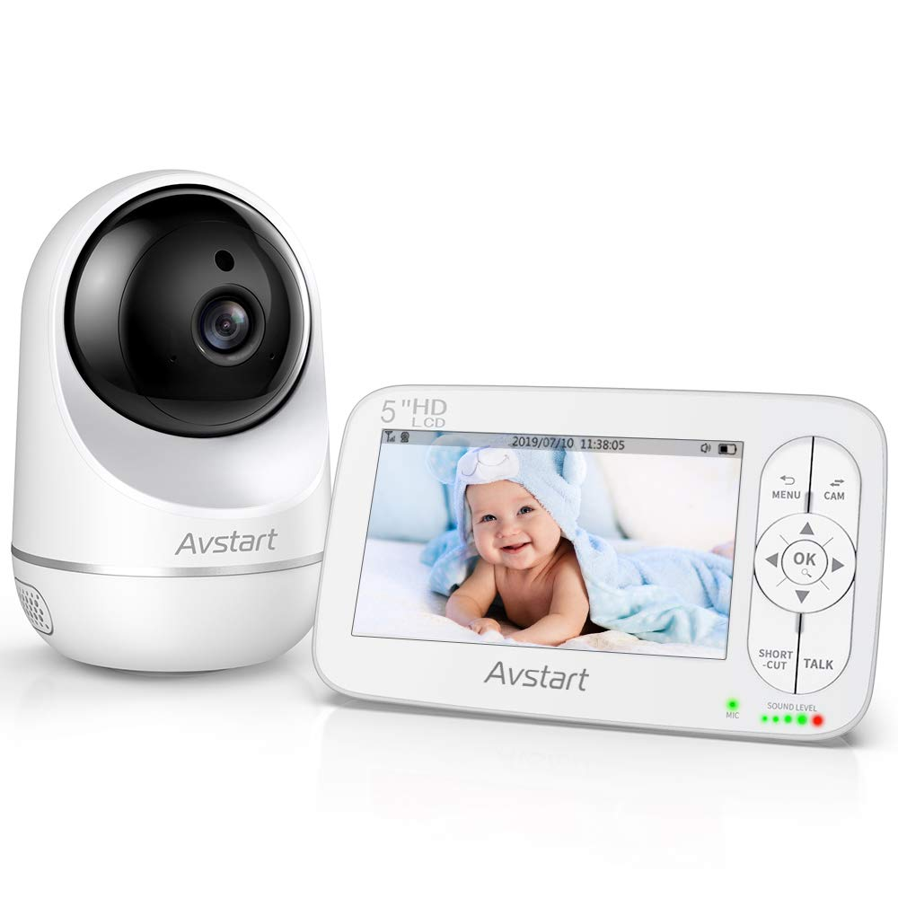 """Video Baby Monitor, Avstart Baby Camera Monitor With 2-way Audio, 5"""" Hd Lcd Display, 900ft Range, Night Vision, Pan/tilt/zoom, Instant Alert, Thermal Monitor, Lullabies, Ideal For New Mom"""