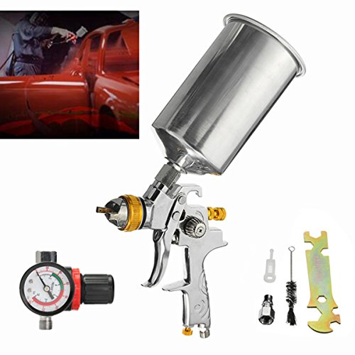 1000CC 1/4inch 1.3mm HVLP Gravity Feed Spray Gun Auto Paint Base Coat Regulator by SPK603