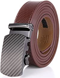 Marino Men's Wide Rimmed Imprinted Leather Ratchet Dress Belt with Automatic Buckle, Enclosed in an Elegant Gift Box