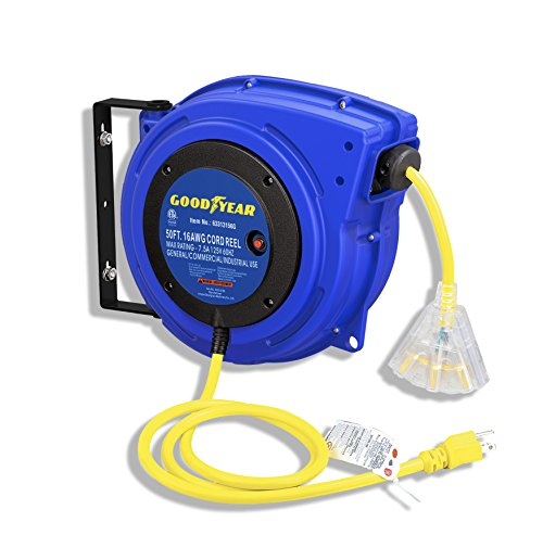 Goodyear Extension Cord Reel Heavy Duty, 50 ft, 16 AWG/3C SJTOW, Triple Tap with LED Lighted ()