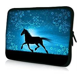 "Horse iColor 9.7""-10.2"" Tablet Laptop Neoprene Sleeve Case Bag Cover for iPad Air, Kindle Fire HD 10, PolaTab Q10.1, Linx 1010B, Dell, Samsung, Toshiba, HP, Sony, Lenovo, Asus (FY-PS10-007)"