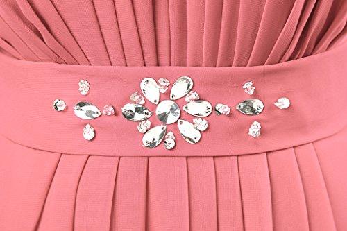 Vantexi Women's Beaded Straps Bridesmaid Long Evening Gown Coral 16