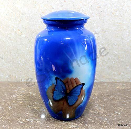 - eSplanade Cremation urn Memorial urn Container Jar Pot | Cremation urns | Full Size Standard Urns | Metal Urns | Burial urns (Butterfly)