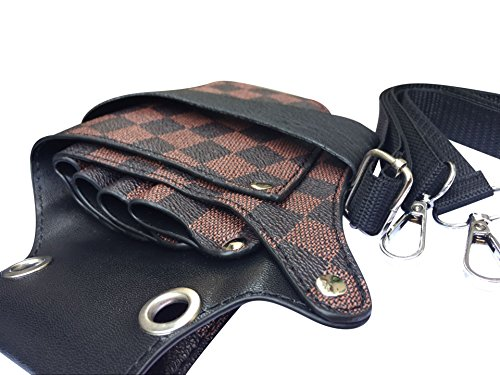 Professional Hair Dressers Scissors Holder Holster Barber Salon Shears Leather Pouch Tools Bag with Waist Shoulder Belt JDB03 (Checked) by QEES (Image #1)