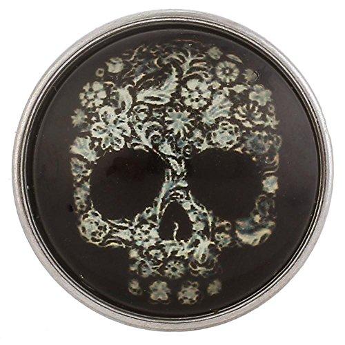 Lovglisten 2pcs Snap Skull Shape Snap Jewelry Interchangeable DIY Accessory (Skull Snap Black)