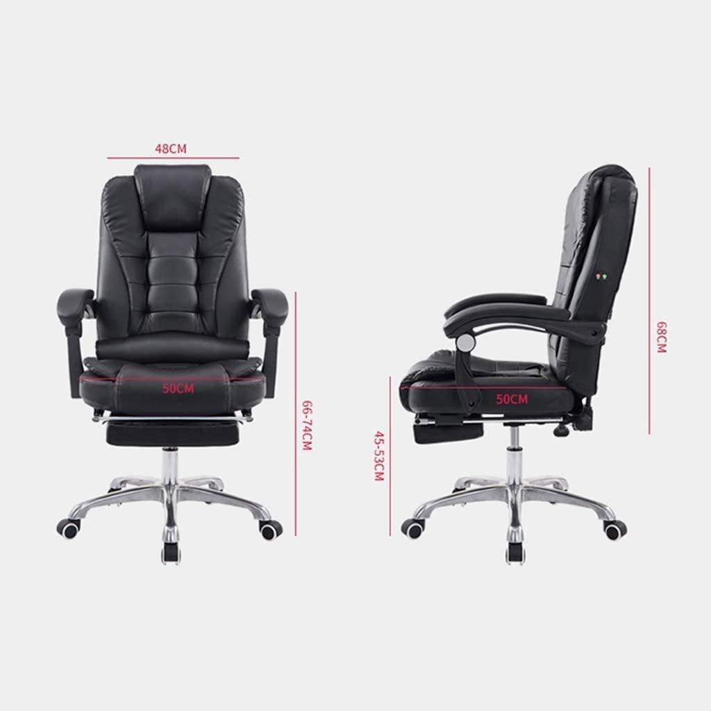 Fåtöljar GSN datorstol kontorsstol läder skrivbordsstol, hög rygg ergonomisk justerbar stol, stol nackstöd och ländrygg stöd (färg: grå) Grått