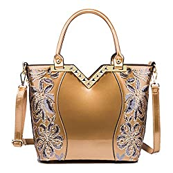 Large Capacity Patent Leather Sequin Crossbody Tote