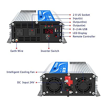 Giandel 1600Watt Power Inverter DC 12volt to AC 120volt with Remote Control & LED Display and 2.4A USB Port for Trucks Boats RV & Emergency: Automotive