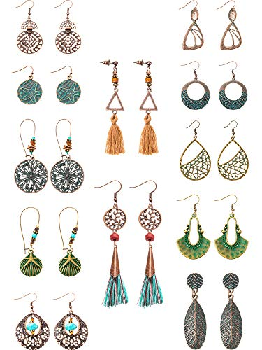 12 Pairs Fashion Metal Vintage Earrings Set with Dangle Pendant Tassel Earrings Boho Retro Ear Stud Earrings Drop Hook Lightweight Statement Earrings for Women Girls (Style A)