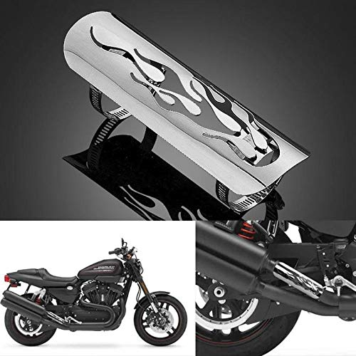 Daphot-Store - Universal Triclicks Motorcycle Chrome Exhaust Muffler Pipe Heat Shield Cover Guard Car Covers For Harley Custom Chopper Cruiser ()