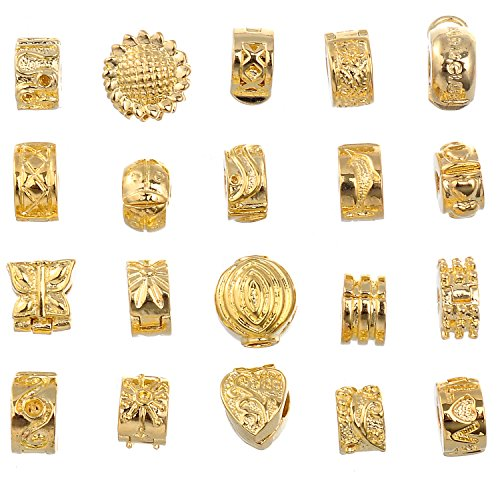 RUBYCA 20pcs Mix Lot of Gold Color Clip Lock Stopper Clasp Beads DIY fit European Charm (Glass Bead Clip)