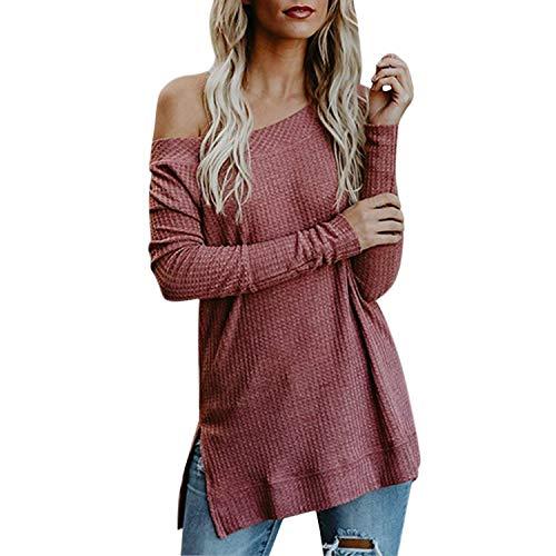 Tops Hiver Petalum Femme Club Dénudées Tee Tricotés Chandail Décontractée Party Shirt Epaules Rouge Pull Chaude w0wBFT