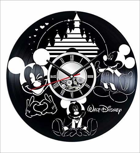 Mouse Personalized Mickey Holiday (Mickey Mouse Wall Clock Made of Vintage Vinyl Records - Stylish clock and Amazing Gifts Idea – Unique Home Decor – Personalized Presents for Men Women Kids – Great for Living Room Bedroom Kitchen)