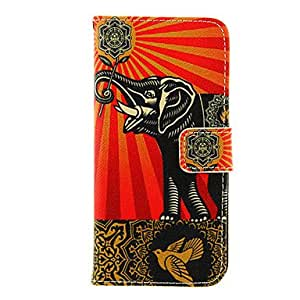 YULIN Elephant Art Design Pattern TPU Back Cover PU Full Body Case with Stand and Card Slots for iPhone 6