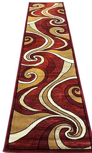 Bellagio Modern Runner Contemporary Area Rug Red Beige Swirl Design 144 (32 Inch X 7 Feet 3 Inch)
