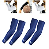 2 Pairs, Child Kids Boys Girls Youth Anti-Slip Arm Sleeves Cover Skin UV Protection Sports Stretch Basketball Running Cycling, Navy