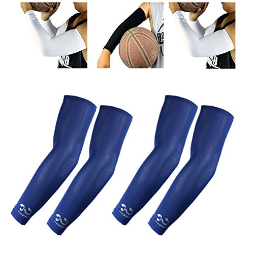 2 Pairs, Child Kids Boys Girls Youth Anti-Slip Arm Sleeves Cover Skin UV Protection Sports Stretch Basketball Running Cycling, Navy by Scorpion