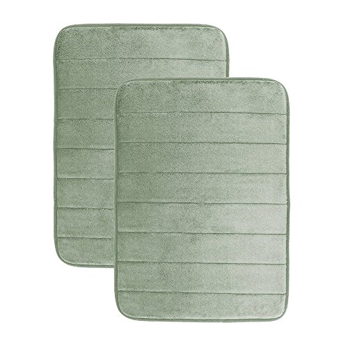 Luxor Linens - Memory Foam Bath Mat (17 x 25 inch) - Giovanni Line - Luxurious , Super Soft & Absorbent with Anti-Slip Backing - Available in a Wide Variety of Colors (2-Piece Set, Sage)