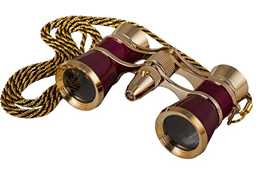 Levenhuk Broadway 325F Opera Glasses (red, with LED light and chain)