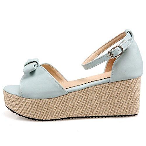 Blue Light Ankle Women Sandals Heels 1 TAOFFEN Fashion Strap nxqA7wTnaU