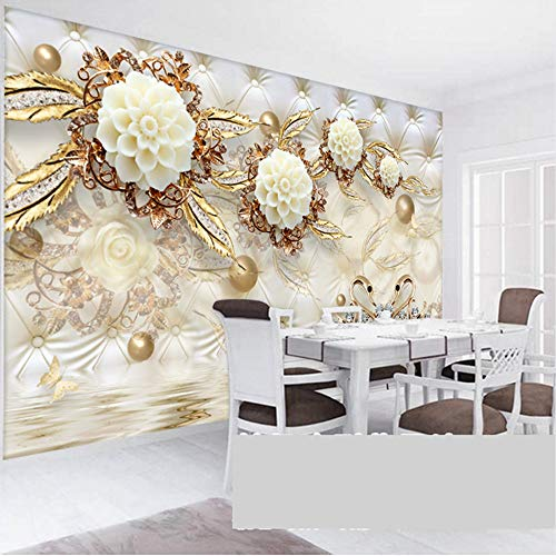 Mznm European Style 3D Luxury Wallpaper Golden Flowers Soft Ball Jewelry Backdrop Wall Photo Mural Living Room Hotel Bedroom 3D Decor-120X100Cm by Mznm (Image #2)