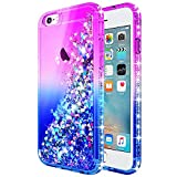 iPhone 8 Case, iPhone 7 Case w/[Tempered Glass Screen Protector], NageBee Glitter Liquid Quicksand Waterfall Floating Flowing Sparkle Shiny Bling Diamond Girls Cute Case -Purple/Blue