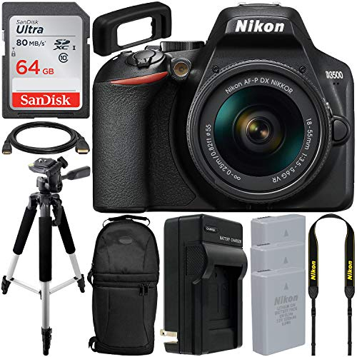 Nikon D3500 DSLR Camera with 18-55mm Lens (1590) & Essential Accessory Bundle - Includes: SanDisk Ultra 64GB SDXC Memory Card, 2X Extended Life Replacement Battery & More (International Version)