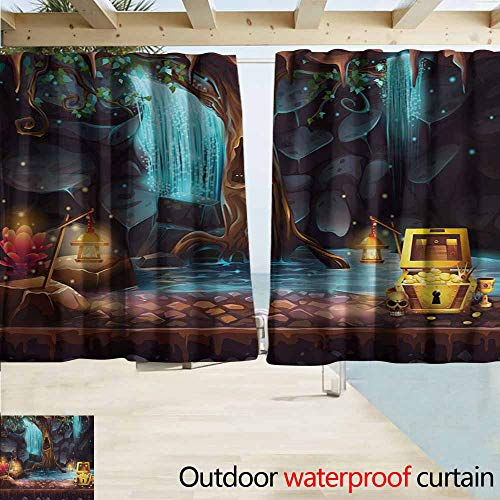 (AndyTours Balcony Curtains,Fantasy Cartoon Style Cave Landscape with a Big Tree Treasure Chest Lamps and Waterfall,Rod Pocket Energy Efficient Thermal Insulated,W55x63L Inches,Multicolor)