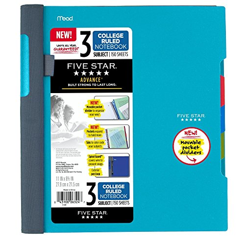 Five Star Advance Spiral Notebook-Standard Size, 3-Subject, 150 College-Ruled Sheets, 11 x 8.5 Inch Sheet Size, Teal (73140)