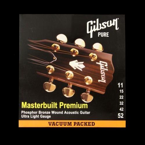 Gibson Masterbuilt Premium Phosphor Bronze Acoustic Guitar Strings, Ultra Light 11-52 (Gibson Masterbuilt Premium Acoustic Guitar)