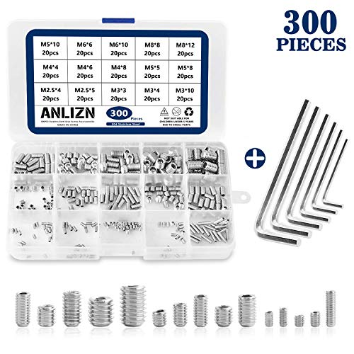 Anlizn 300PCS M2.5/M3/M4/M5/M6/M8 Grub Screw Set with 6 Matching Wrenches, Hex Allen Head Socket Set Screw Bolts Assortment Kit with Internal Hex Drive, 304 Stainless Steel, Silver