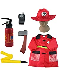Fire Chief Role Play Costume, Fireman Dress Up, Fire Fighter Outfit, Pretend Role Play Kit Set, Rescue Tools, Firefighter Present for Ages 3, 4, 5, 6, 7 Year Olds Kids Toddler Children