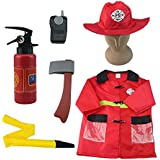 iPlay, iLearn - Fire Chief Role Play Costumes, Halloween Christmas Fireman Dress Up Set & Fire Fighter Toys Kits for Birthday and Holiday Party for 2, 3, 4, 5 Year Old and Up