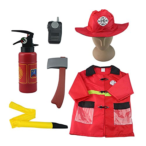 iPlay, iLearn - Fire Chief Role Play Costumes, Halloween Christmas Fireman Dress Up Set & Fire Fighter Toys Kits for Birthday and Holiday Party for 2, 3, 4, 5 Year Old and Up - Community Halloween Costumes