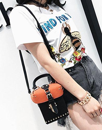 Hembra Golpeó el Color de Mano Pequeña Plaza Paquete de Moda Liu Paquete de Diagonal Simple Bolsa de Hombro , Negro