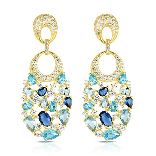 (Unique Royal Jewelry 925 Sterling Silver Cubic Zirconia and Simulated Colored Stones Cluster Chandelier Designer Dangling Drop Pierced Earrings. (14K Yellow Gold Plated Sterling Silver))