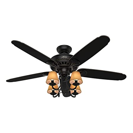 Hunter IndoorCeiling Fan, with Pull Chain Control – Cortland 54 inch, Black, 53095