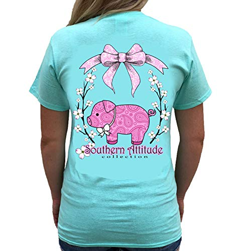 (Southern Attitude Pig Sea Foam Green Cute Preppy Southern Animal Short Sleeve Tee Shirt (XX-Large))