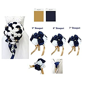 Angel Isabella Build Your Wedding Package-Artificial Flower Bouquet Corsage Boutonniere Rose Navy Gold Wedding Theme 77
