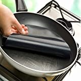 Frying Pan Liner Non-Toxic Teflon-Coated Fiberglass Cloth Pot Mat Non-Sticky Round Pan Liner Sheet for Healthy Frying Cooking Without Oil Easy to Clean 9.5'' (Black)