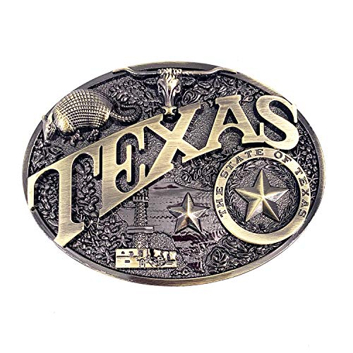 Lanxy TEXAS Bull Belt Buckle For Men Western Cowboy Retro Cool Oval Large Big Belt Buckle Antique Gold Tone