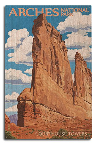 (Lantern Press Arches National Park, Utah - Courthouse Towers (10x15 Wood Wall Sign, Wall Decor Ready to Hang))
